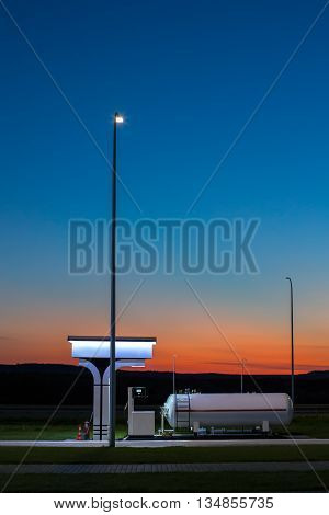 The modern environmentally friendly and safe fueling at sunset
