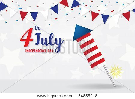 Independence Day 4 th July firecracker on star background