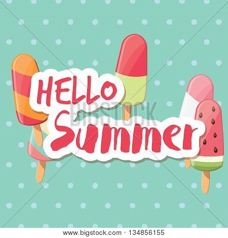Poster design with colorful glossy ice cream vector illustration