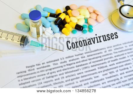 Syringe with drugs for coronaviruse treatment, blur text