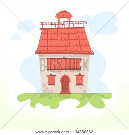 Fairy house with a tiled roof and a cockerel