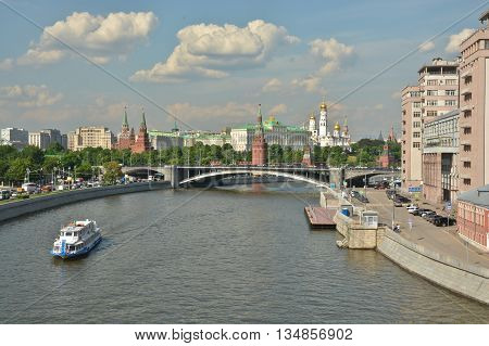 Moscow river and the Kremlin. Summer landscape of the Moscow Kremlin and the waterfront.