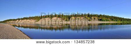 Panorama deserted the Ural river. Polar Ural Komi Republic Russia.