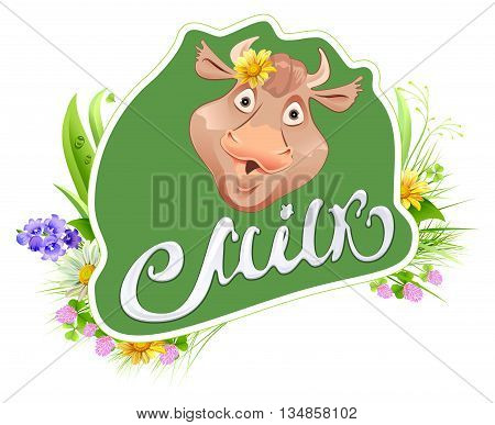 Milk label template for packing. Cow head and meadow grass. Milk lettering text. Vector cartoon illustration