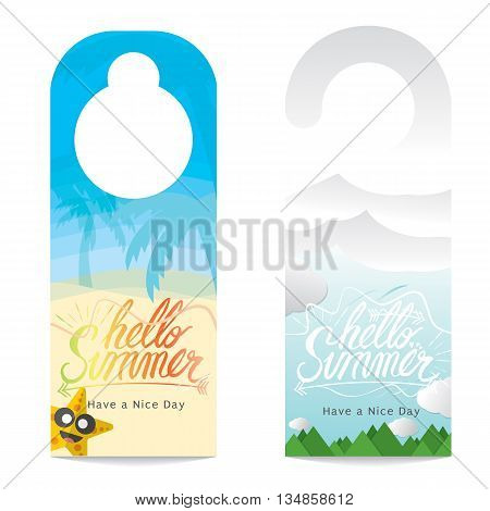 Hello Summer Hand Lettering Summer Vacation Concept Door Hanger Vector Illustration. EPS 10