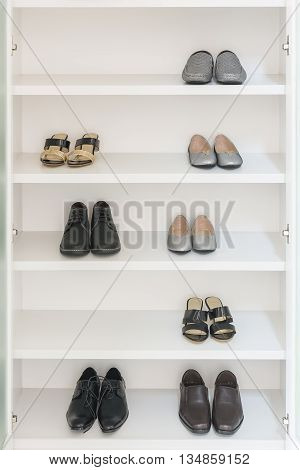 White Wardrobe With Male And Female Shoes