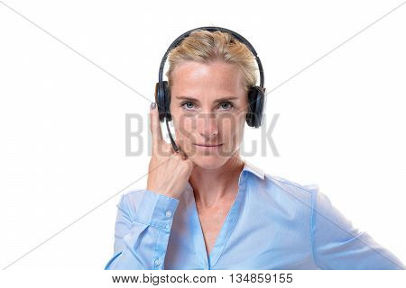 Gorgeous Blond Woman With Telephone Headset