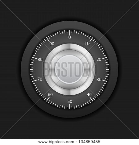 Combination lock on a black background. Vector illustration.