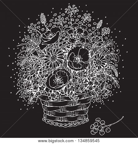 Hand drawn white image of bouquet of wild flowers in a basket on black background.