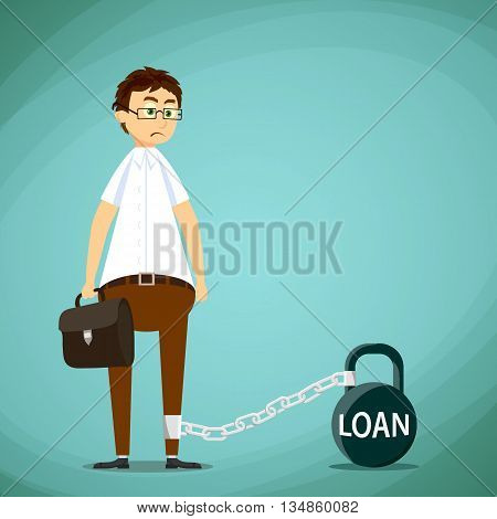 Man chained to the kettlebell with inscription loan. Stock Vector cartoon illustration.