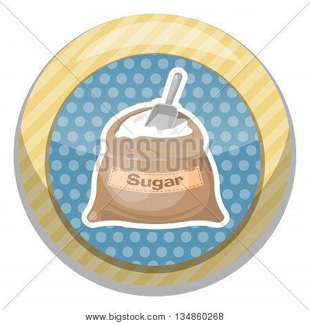 Sugar bag icon. Vector illustration in cartoon style