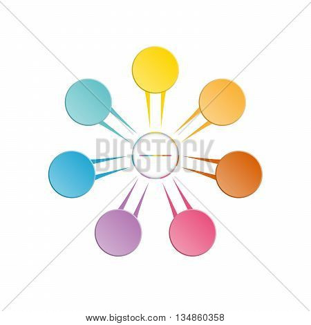 Infographic template colourful in the form of flower petals for seven position steps and text area.