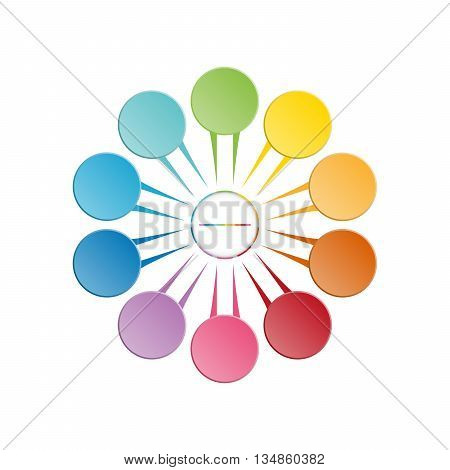 Infographic template colourful in the form of flower petals for ten position steps and text area.