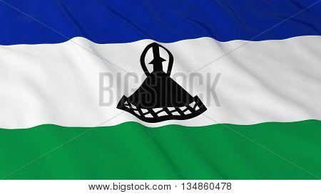 Basotho Flag Hd Background - Flag Of Lesotho 3D Illustration