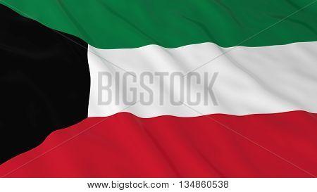 Kuwaiti Flag Hd Background - Flag Of Kuwait 3D Illustration