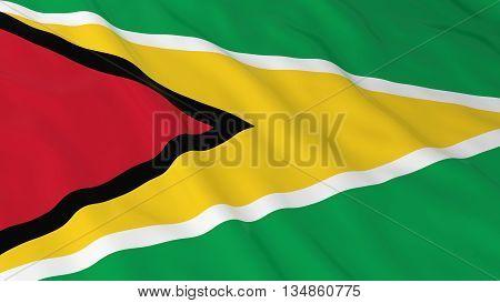 Guyanese Flag Hd Background - Flag Of Guyana 3D Illustration