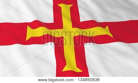 Channel Islands Flag Hd Background - Flag Of Guernsey 3D Illustration