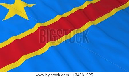 Congolese Flag Hd Background - Flag Of Dr Congo 3D Illustration
