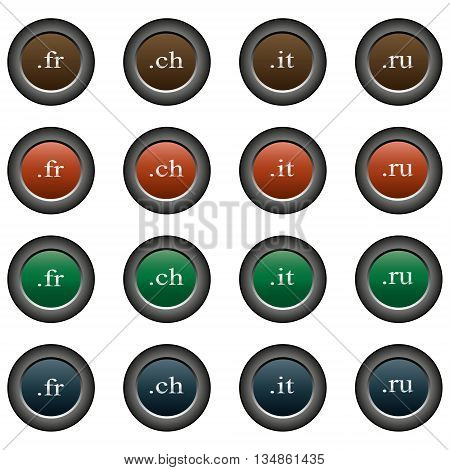 Collection of 16 isolated multicolor buttons (icons) - domains (fr button, ch button, it button, ru button)