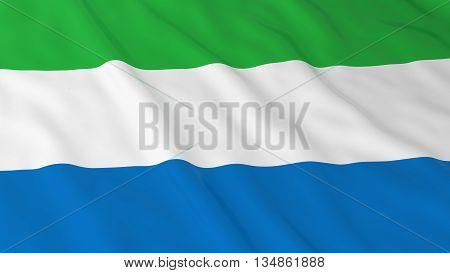 Sierra Leonean Flag Hd Background - Flag Of Sierra Leone 3D Illustration