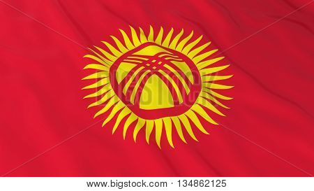 Kyrgyzstani Flag Hd Background - Flag Of Kyrgyzstan 3D Illustration