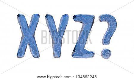 transparent crystal alphabet, X, Y, Z, 3d illustration