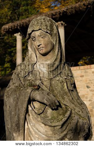 A Very old madonna statue in italy