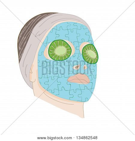 Young woman with clay facial mask in the form of a puzzle. vector illustration.