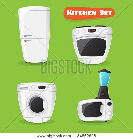 Vector kitchen appliance collection. Fridge, stove, microwave oven, washing machine and mixer funny icons in cartoon style