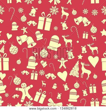 Creative Seamless Christmas pattern. Beautiful red retro stylized banner. Graphic illustration