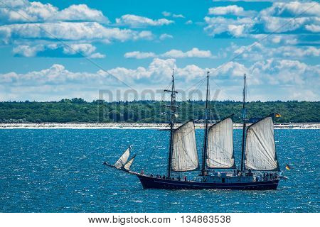 A sailing ship on the Baltic Sea with blue sky.