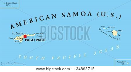 American Samoa political map with capital Pago Pago is an United States territory and part of Samoan Islands in South Pacific Ocean. English labeling and scaling. Illustration.