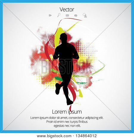 Runner, sport background, vector