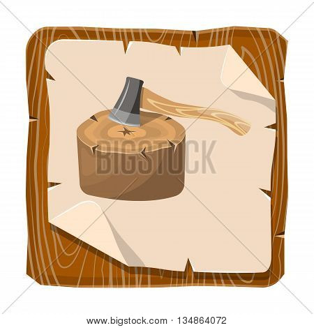 Stump colorful icon. Vector illustration in cartoon style