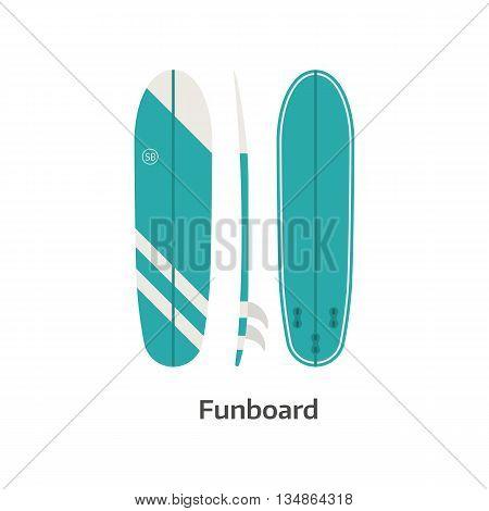 Funboard Surfing Desk Vector Illustration