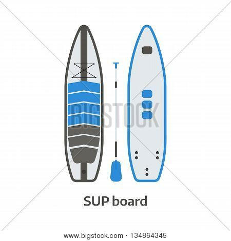 Sup Board And Paddle Vector Set