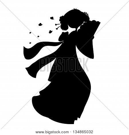 vector illustration silhouette of a geisha in a kimono with a fan