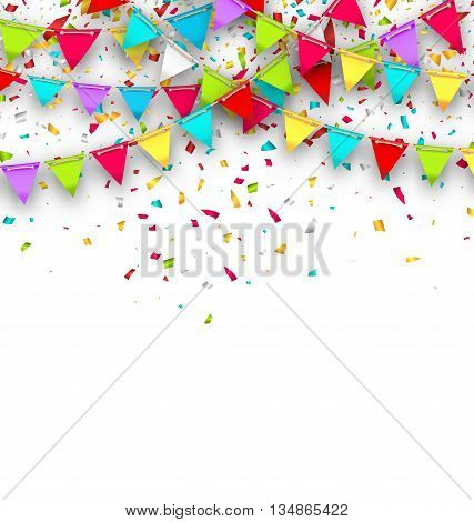 Illustration Colorful Background with Hanging Bunting and Confetti for Your Party - Vector