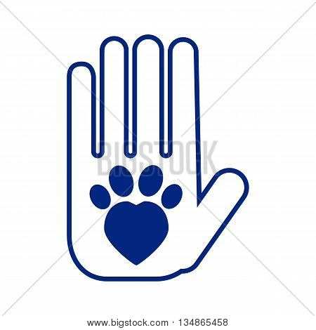 Cat adoption and care vector illustration, blue icon of human hand and cat paw