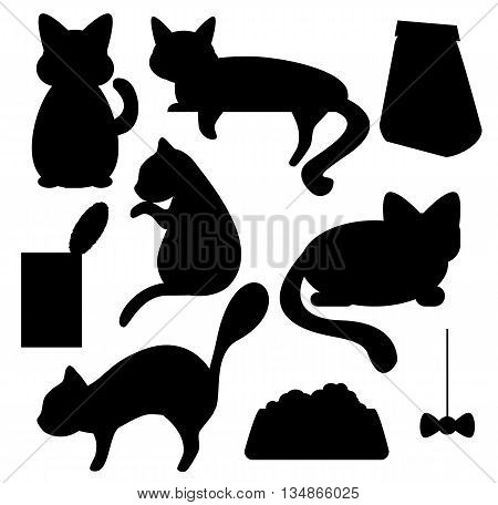 Cats and cat food silhouettes vector clipart, cat pose of relax