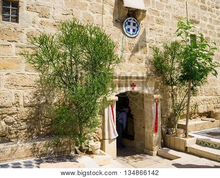 JERICHO, ISRAEL - MAY 2: Entrance to the temple Gerasim Jordan monastery May 2, 2016 in the Judean desert near Jericho, Israel