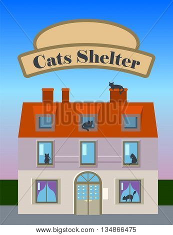 Cats shelter house vertical vector illustration in flat style with banner for text, cat silhouettes in house windows