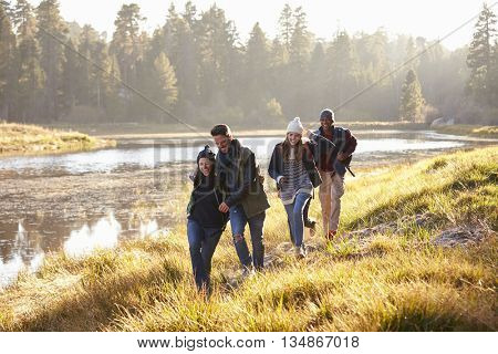 Four friends having fun walking beside a lake