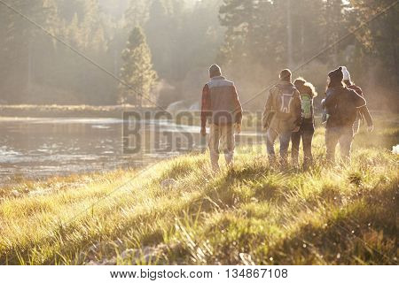 Five friends on a camping trip walking near lake, back view