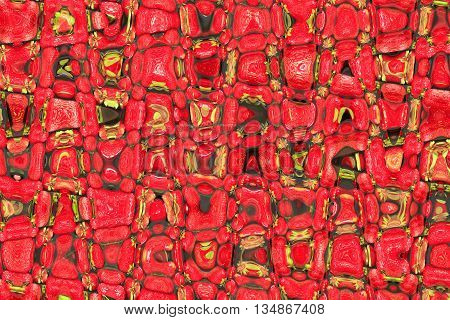creative abstract bright and motley red texture with green spots