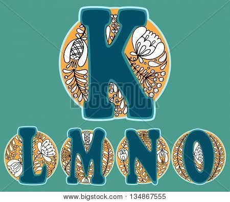 Hand drawn floral alphabet with russian traditional ornament. Vector illustration. Letters K L M N and O in the floral circle.