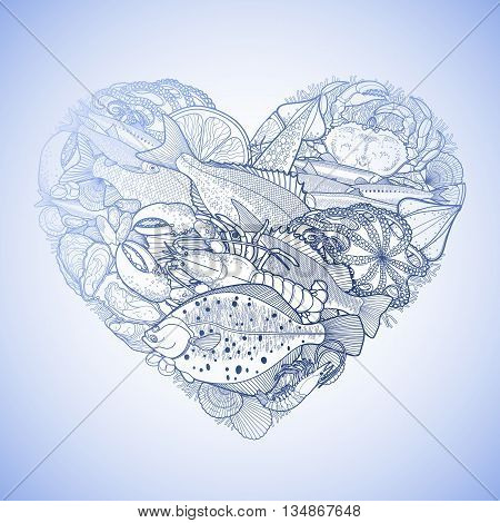 Graphic seafood in the shape of heart. Sea and ocean creatures isolated on white background. Coloring book page design