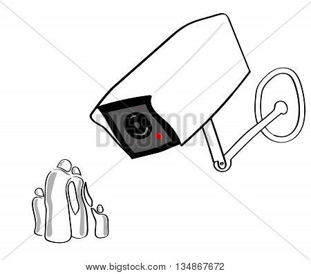 A giant CCTV or surveillance camera looks down on a stylized group of people representing a typical family