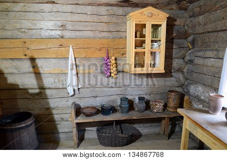 Irkutsk region Russia - May 10 2015: Interior of the Russian peasant hut in Taltsy exhibition