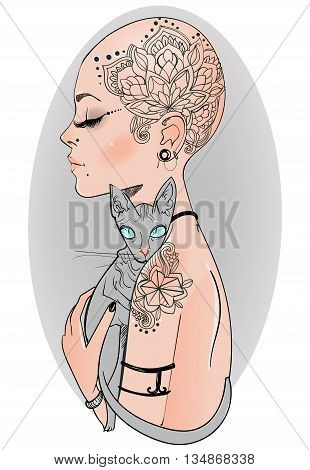 bold girl with tattoo with bold cat